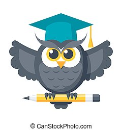 Wisdom Vector Icon - Wisdom concept with owl in graduation...