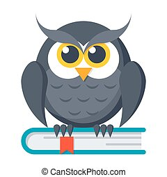 Knowledge Vector Icon - Knowledge concept with owl on book,...