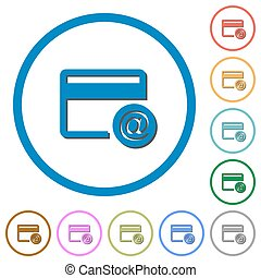 Credit card email notifications icons with shadows and...
