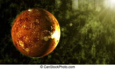 Explosion of the planet Venus seen from space - abstract...