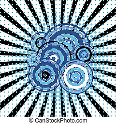Blue retro background with twirl and circles