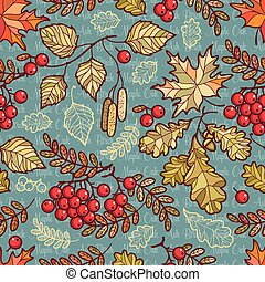 Seamless pattern. Deciduous. Autumn leaf ornament. Forrest leafy background.