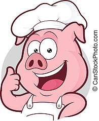Pig chef giving thumbs up in round frame - Clipart picture...
