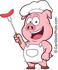 Pig chef holding a sausage on fork - Clipart picture of a...
