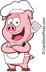 Pig chef holding a spatula - Clipart picture of a pig chef...