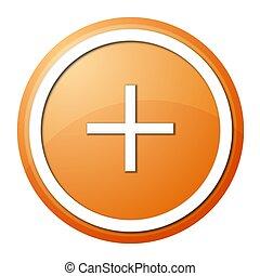 orange plus button - round plus button with white ring for...