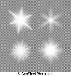 Vector glowing light bursts set with sparkles on transparent...
