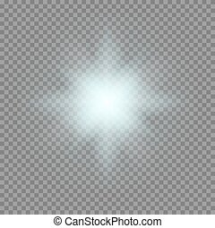 Vector glowing light bursts with sparkles on transparent...