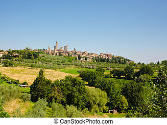 San Gimignano - View from orchards and wineries at old...
