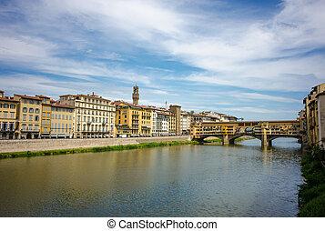 Sunset over Ponte Vecchio - The oldest bridge over the river...