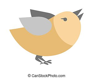 Cartoon Bird Isolated. Abstract Titmouse Bullfinch - Cartoon...