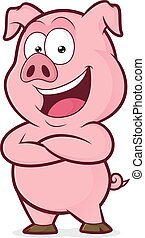 Pig with folded hands - Clipart picture of a pig cartoon...