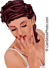 Red-haired woman looking down with hand on her mouth