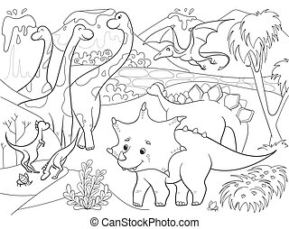 Cartoon Coloring for children dinosaurs in nature. Black and...