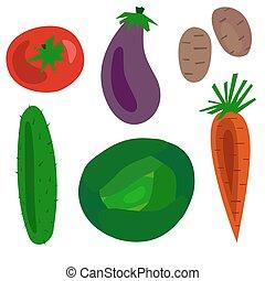 Flat Cartoon vegetables set vector illustration. Objects...