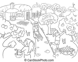 Kids Coloring cartoon on the theme of harvest vector...
