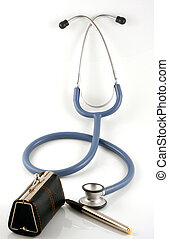 Brown doctor's bag with stethoscope on white background