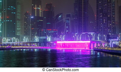 Illuminated Waterfall at the Sheikh Zayed Bridge timelapse,...