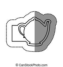 contour emblem teapot icon