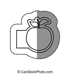 contour emblem apple fruit icon
