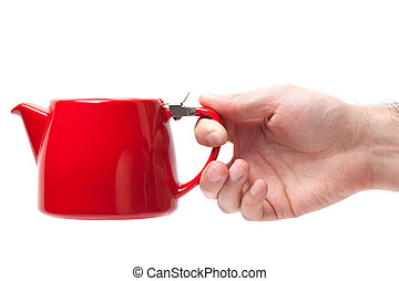 Man hand holding object Red teapot isolated on white background.