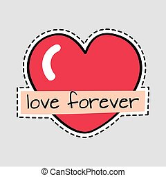 Love Forever. Big Red Heart. Cut it out. Patch