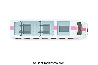 Tramway or Speed Train Top View Vector Icon - Tramway top...