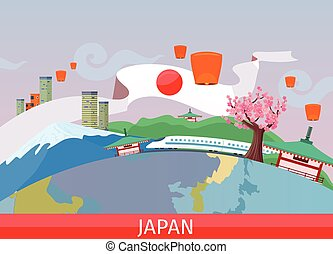 Japanese Tourist Attractions Flat Vector Concept - Japan...