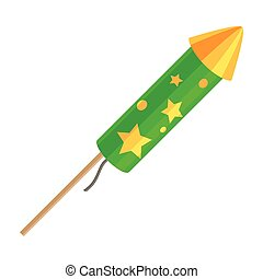 Green Exploding Rocket with Golden Stars Isolated - Green...