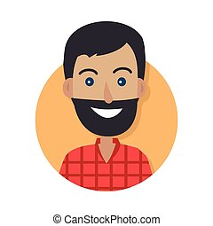 Man Face Emotive Vector Icon in Flat Style - Man face...