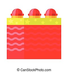 Red Box with Ground Bloom Flower. Firework element. - Red...