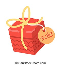 Big Red Present for Sale on White Background. - Big red with...