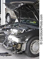 Danificado, acidente, automóvel