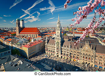 Aerial view of Munchen at spring: Marienplatz, New Town Hall...