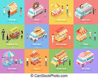 Street Food Stores Isometric Vector Banners - Set of street...