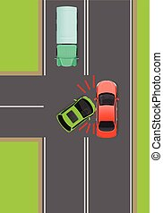 Clash of Cars on T-Junction Flat Vector Diagram - Clash of...
