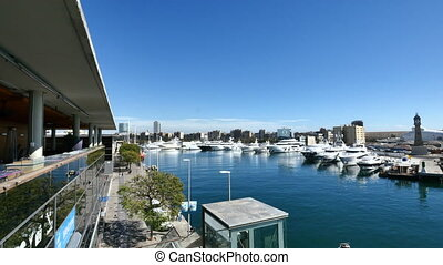 Barcelona Port Vell Panoramic View - Cityscape in Barcelona...