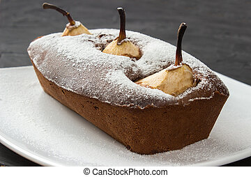 Whole Chocolate cake with pear