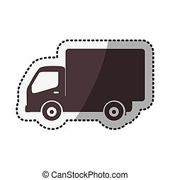 sticker silhouette transport truck with wagon vector...
