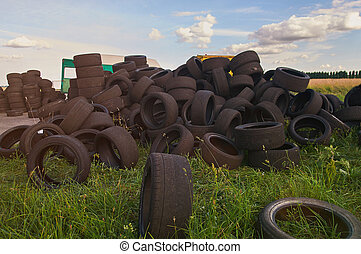 Stack of used tyres