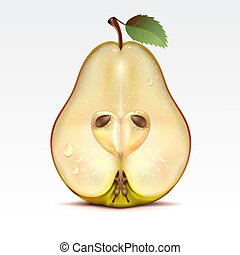 Pear - Half a yellow pear on a white background