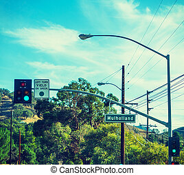Mulholland drive sign in Malibu, California