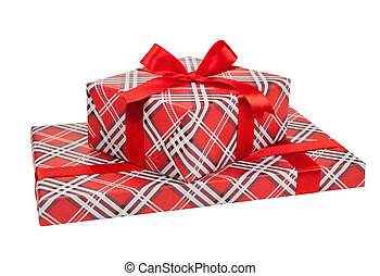 Christmas gifts isolated on white background.