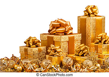 golden gift boxes with ribbon isolated on white