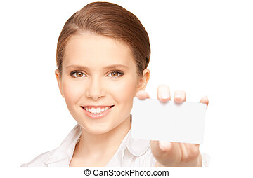 woman with business card