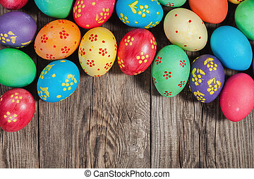Easter eggs on the old board. Festive concert. - Easter eggs...