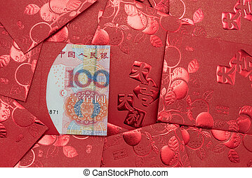 red pockets with Chinese paper currency