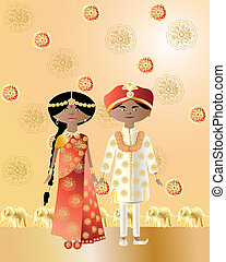 asian wedding - an illustration of an asian wedding with a...
