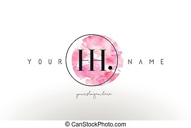HH Letter Logo Design with Watercolor Circular Brush Stroke....