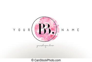 BB Letter Logo Design with Watercolor Circular Brush Stroke....